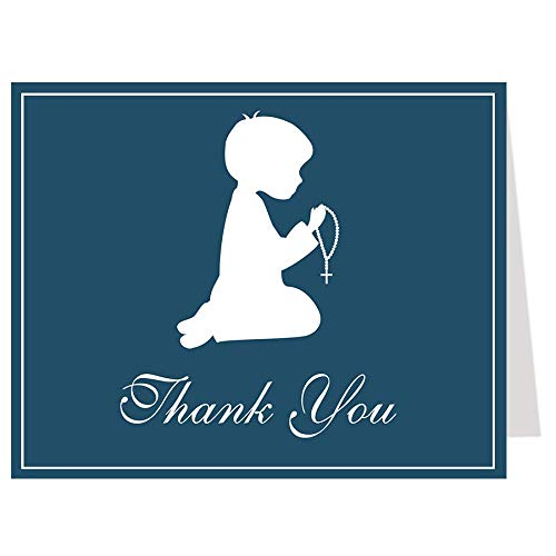 First Holy Communion Thank You Cards Christening Confirmation Baptism Religious Cross Navy Blue Rosary Boy Thanks Folding Thank You Notes (24 Count)