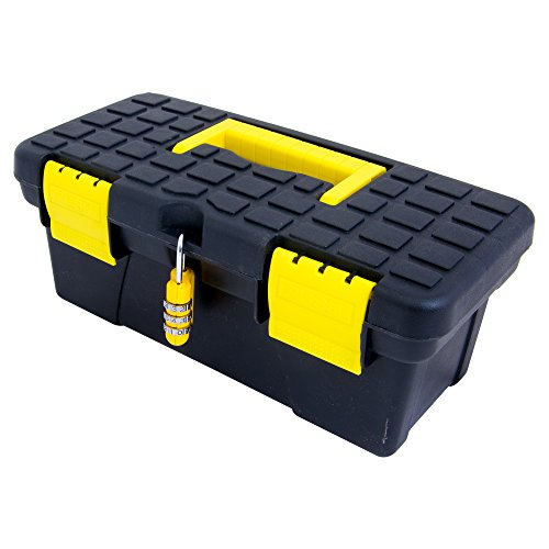Small Portable Lockable Box The ONLY 9 inch Lock + Box with Handle- Free Combination Lock to Secure (Lockable Storage Box)