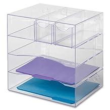 "Rubbermaid Organizer Desk, Optimizers 4-Way Organizer with Drawers 13-1/4""w x 13-1/4""d x 10""h, 1 Unit, Clear (RUB94600ROS)"
