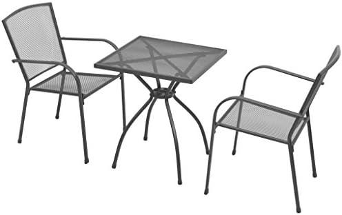 Tidyard Conjunto de Mesa y 2 Sillas Apilables con Diseño de Malla ...