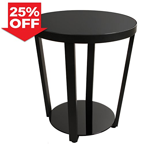 Lifewit 2-tier Modern Round Side/End Table/Nightstand/Coffee Table, Black