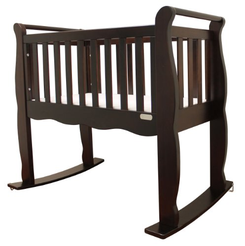 Green Frog, Baby Cradle | Handcrafted Elegant Wood Baby Cradle | Premium Pine Construction | Wheel, Rockers and Stationary Options | Rich Espresso Color …