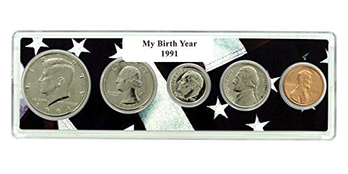 - 1991-5 Coin Birth Year Set in American Flag Holder Uncirculated