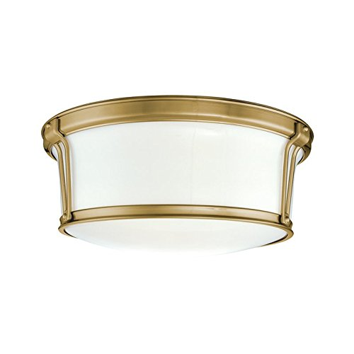 Hudson Valley Lighting Newport Flush 2-Light Flush Mount - Aged Brass Finish with Opal Glossy Glass Shade