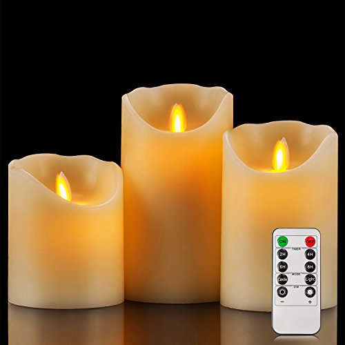 Enpornk Flameless Candles Battery Operated Candles Real Wax Pillar LED Candles with Dancing Flame with 10-key Remote and Cycling 24 Hours Timer, Height 4'' 5'' 6'', Ivory - Set of 3 by Enpornk