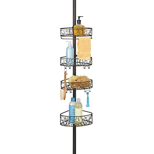 InterDesign Twigz Metal Wire Tension Rod Corner Shower Caddy, Adjustable 5'-9' Pole and Baskets for Shampoo, Conditioner, Soap with Hooks for Razors, Towels, Bronze
