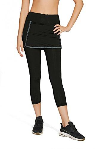 Women's Athletic Skorts Capris Gym Pants Running Tights Skirted Leggings Sun Protection L Black -