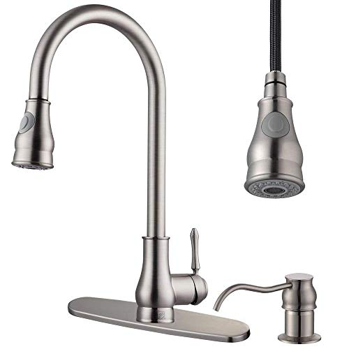 - Eastech Brass Pull Out Commercial Kitchen Sink Faucet w/Hot & Cold Switch - Pull Down Spray Swivel Plumbing Soap Dispenser | Heavy Duty 500000 Using Time Durable | For Home Villa Hotel Restaurant Bar