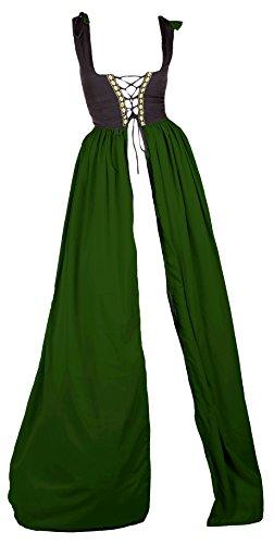 [Renaissance Medieval Irish Costume Two-Toned Fitted Bodice Over Dress (L/XL, Black/Hunter)] (Irish Chemise)