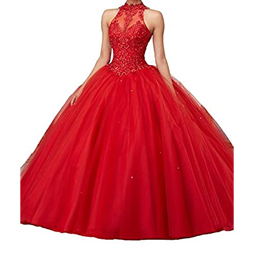 MarryingHoney Lisa High Neck Puffy Ombre Prom Dresses Lace Ball Gown Quinceanera Dress