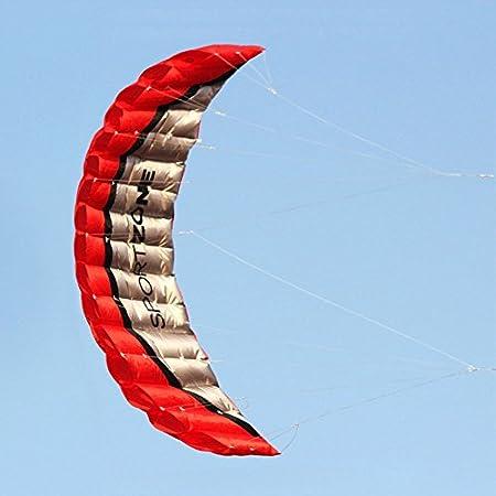 SHUOGOU 2.5m Línea dual Parafoil Stunt Kite con la Manija, flota en la brisa, al aire libre Diversión Deportes parque playa jardín Fun, fácil de volar & estable (Red)