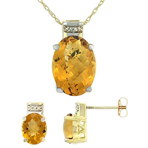 Or jaune 9Ct naturel Pendentif Ovale Boucles d'oreilles Quartz à whisky et Accents de diamant