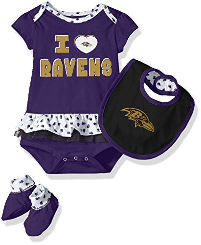 NFL Girls Newborn Baltimore Ravens Team Love Onesie, Bib and Bootsies, 3-6 Months
