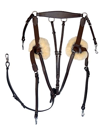 Leather Horse Size 5 Point Elastic Breastplate with Running Attachment (Dark Brown)