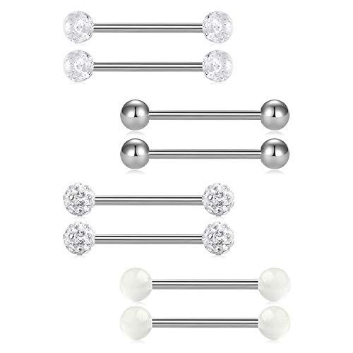 FECTAS 14G Nipplerings Piercing Barbells Surgical Stainless Steel Straingt Barbell Nipple Tongue Rings Jewelry 20mm
