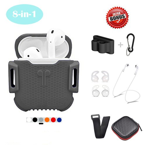 CoolKo Newest Protective Waterproof & Shock Resistant Silicone Gray Case for iPhone AirPods Set [Bonus: Non-Magnetic Airpod Strap, 2 Set of Ear Hook, Holder, Small Case, Wise Strap, Carabiner]