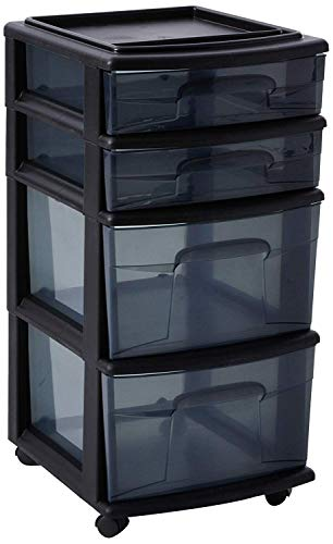 HOMZ Plastic 4 Drawer Medium Cart, Black Frame with Smoke Tint Drawers, Casters Included, Set of 1 ()