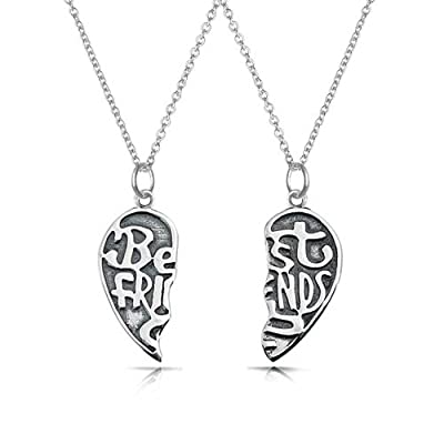 Bling Jewelry Best Friends Forever Split Heart Pendant Sterling Silver Necklace Set 16 Inches on sale