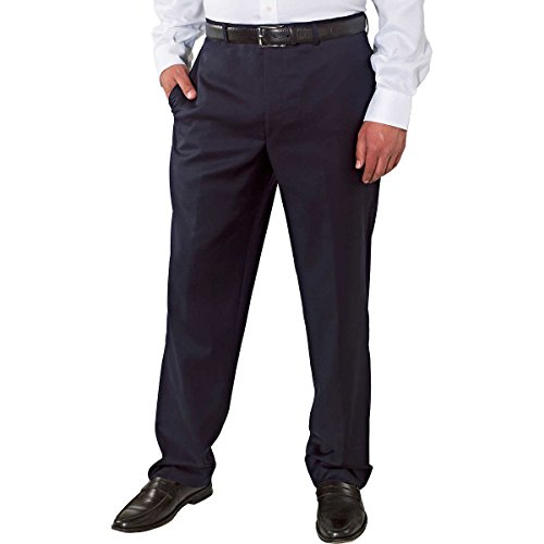 Plaid Wool Pants (Kirkland Signature Mens Wool Flat Front Dress Pant-Open Bottom Hem (32X30, Navy Mini Plaid))