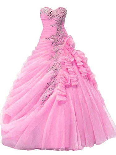Womens' Strapless Beaded Draped Ball Gown Quinceanera Dresses Pink Custom Made