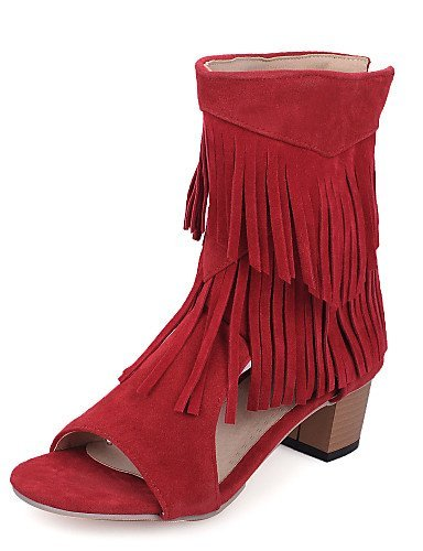 ShangYi Womens Shoes Chunky Heel Open Toe Sandals Dress Black / Brown / Red / Gray Black