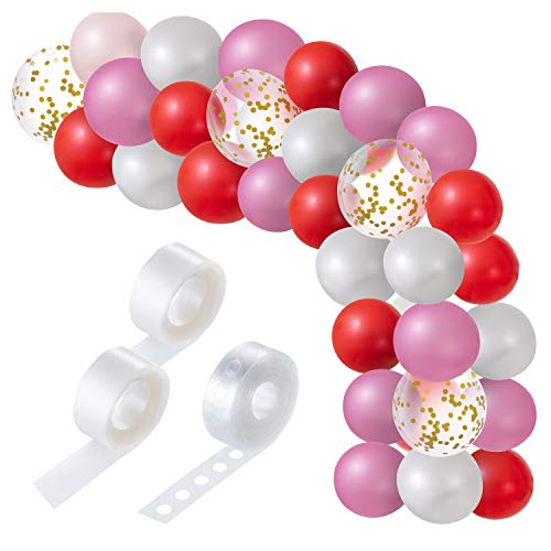 Favourde 115 Pieces Round Latex Balloon Garlands and 1 Rolls Balloon Tape Kit 2 Rolls Balloon Glue Point Dots Stickers for Wedding Birthday Party Decorations (Pink White Red Gold) (Hello Kitty Balloons Baby)