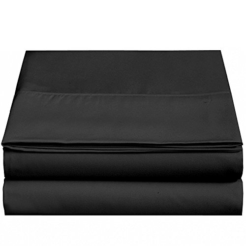 4U LIFE Flat sheet-Ultra soft & Comfortable Microfiber-Black,Full