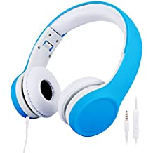 misognare Kids Headphones Wired Volume Limited Headphones for Children (Blue)