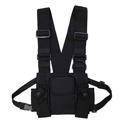 Sherine Men Women Chest Rig Bag Multi-Pocket Vest Hip Hop Streetwear Functional Tactical Harness Chest Rig Pack Adjustable Waist Bag