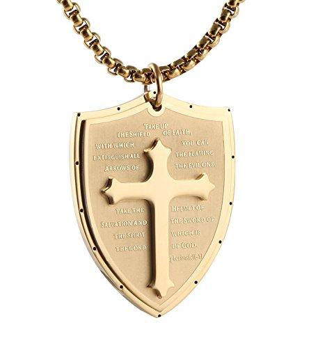 HZMAN Shield Armor of God Ephesians 6:16-17, Faith Cross Stainless Steel Pendant Necklace