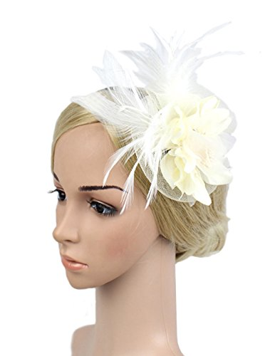 White Hats And Fascinators (Womens Fascinator Veil Flower Cocktail Tea Party Headwear Derby Hat (WHITE))