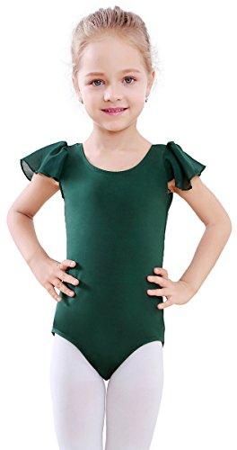 Toddler Green Girls (STELLE Girl's Cotton Ruffle Short Sleeve Leotard for Dance, Gymnastics and Ballet (Toddler/Little Girl/Big Girl)(100cm(US 5Y), Green))