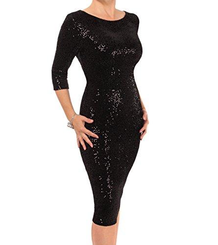 Kleid Stretchsamt mit Pailletten - voll gefüttert - Rücken Reißverschluss Schwarz