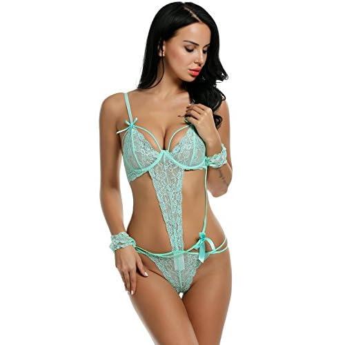 39c935880 new Aimado Women s Two Piece Sleepwear Sexy Teddy Open Bra Babydoll  Lingerie S-XXL