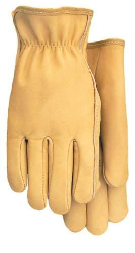 Midwest Gloves and Gear 608-S-AZ-6 Men's Smooth Grain Cowhide Work Glove with Gathered Elastic Wrist, Small, 1-Pack