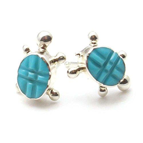 - Zuni Turquoise & Silver Turtle Post Earrings by Hooee