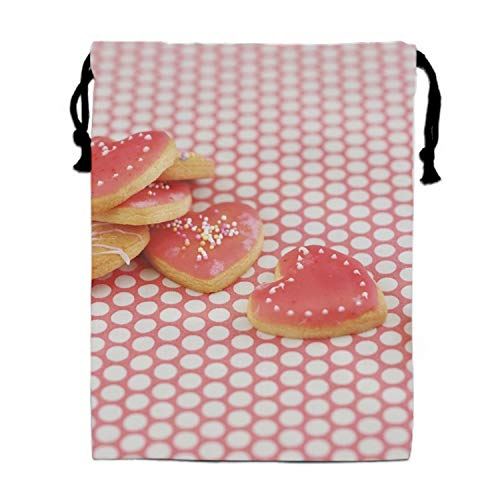 Drawstring Bags Favors for Kids Cookies Batch Hearts Glaze Cloth Design Backpack Rucksack Shoulder Bags Gym Bag, Arts & Crafts Activity
