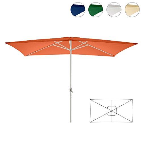 Sonnenschirm eckig mit Kurbel 2x3m Marktschirm Rechteckschirm Sonnenschutz (Orange), Polyester 180 g/m², Gewicht ca. 5 kg