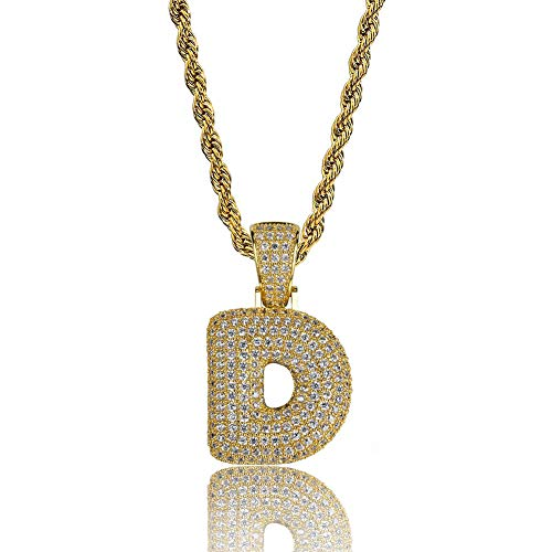 - HECHUANG Micropave Simulated Diamond Iced Out Bling Custom Bubble Letters Pendant with Rope Chain (D Gold, 24)