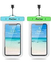 [2-pack] ProCase vattentät telefonfodral, IPX8 undervattensväska för iPhone 12 Pro Max, XS Max XR X 8 7 6S 6 Plus, Galaxy S20 Ultra S10 Plus S9 S8/Note 10+ 9 8/Pixel 4 XL 3 2 XL – blå/grön