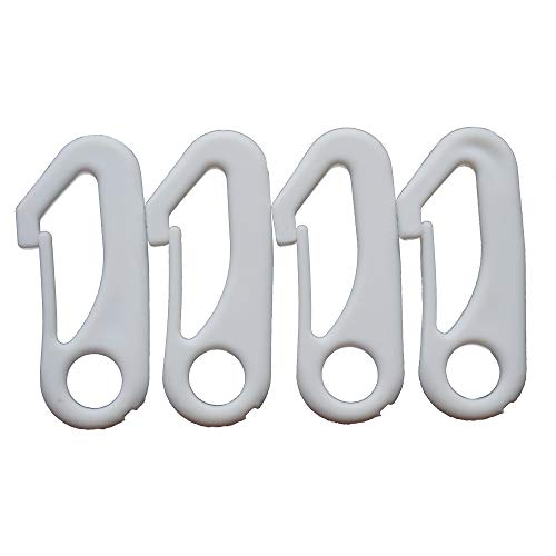 (Ashley ZC 4 PCS White Flag Pole Snap Hook Clips - FlagPole Attachment Hardware - Durable Nylon Accessory)