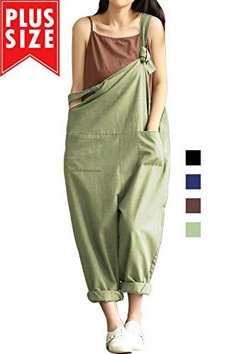 Lncropo Women Large Plus Size Baggy Linen Overalls Casual Wide Leg Pants Sleeveless Rompers Jumpsuit Vintage Haren Overalls -