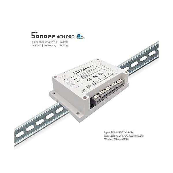 Sonoff 4CH Pro- Interruptor de enclavamiento para generador, Avance/Autobloqueo Interruptor inalámbrico WiFi & RF 90… 4 spesavip