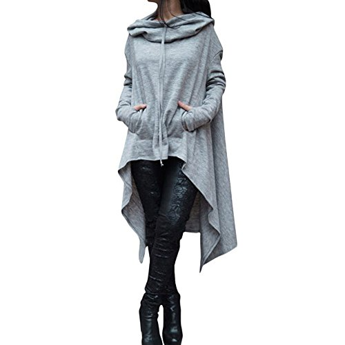 ZYAP Women Irregular Hood Sweatshirt Hooded Ladies Long Pullover Tops (Gray,US:4/CN-S) Cat Long Sleeved Denim Shirt