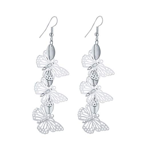 IDB Delicate Filigree Dangle Triple Butterfly Drop Hook Earrings - Available in Silver and Gold Tones (Silver Tone)