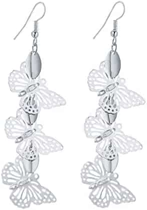 Girls Silver Plated Stud Earrings CZ Zirconia Ring Hook Earrings for Women 1.4X1.4CM by AmDxD