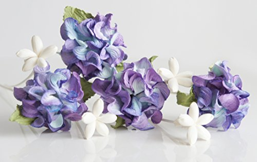Plawanature Set of 4 Violet Wool Mulberry Paper Flower with 4 Mini Sola Flower Reed Diffuser for Home Fragrance Aroma - Fragrance Home Mini