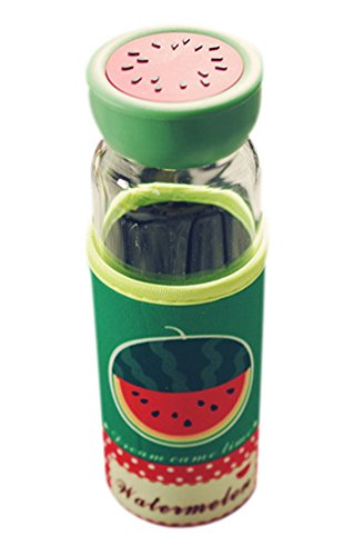 Bestwoohome Glass Water Bottles Fruit Design with Protective Sleeve,350ml(Watermelon)