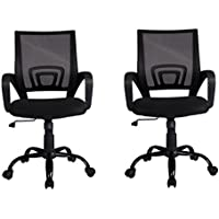 Black Ergonomic Mesh Computer Office Desk JRcWQmI Midback Task Chair w/Metal Base, 2 Pack