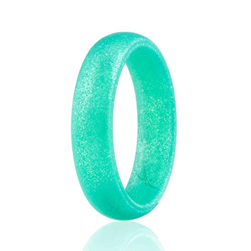 ROQ Silicone Wedding Ring for Women, Affordable Silicone Rubber Band, Metal Turquoise- Size 8